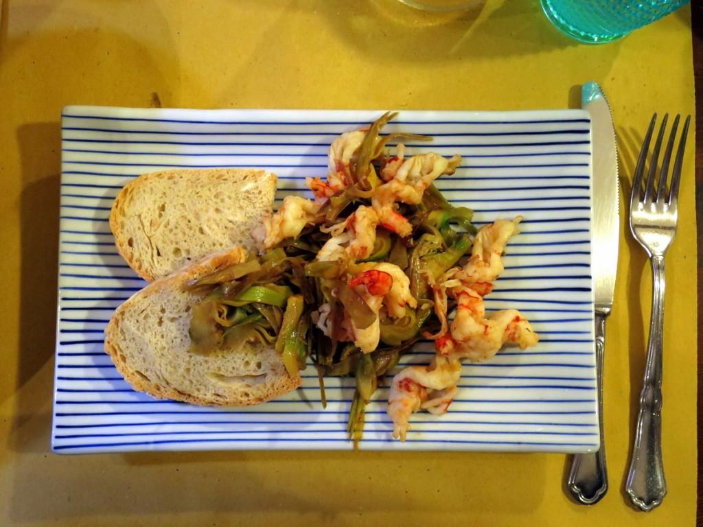 שרימפס, ארטישוק, לחם - Trattoria da franca